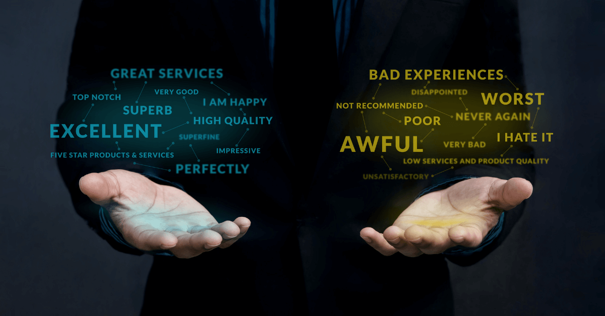 judging customer experience choices displayed on hands bad and good customer journey